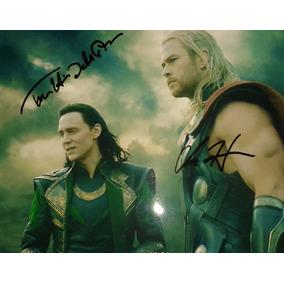 Foto Autografiada Chris Hemsworth Tom Hiddleston Advengers