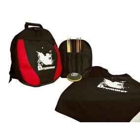 Kit Batera - Mochila Bag P/caixa/baq./pad/camiseta/porta Baq