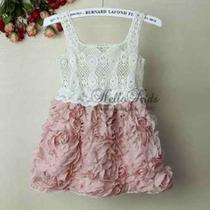 Vestido Blusa Crocher Saia Com Aplicação De Flores Importado