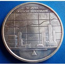 Alemanha-moeda Prata 10 Euros-50 Anos Do Banco Central Alem.