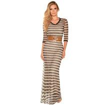 Vestido Vestido Longo Renda Lace Moda Evangélica Bege