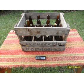 Antiguo Cajón Madera Cerveza Córdoba De 650 Cm Y 12 Botellas