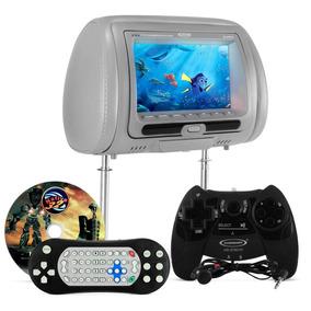 Tela Encosto Cabeça Com Dvd Monitor Lcd Cinza + Game E Fone