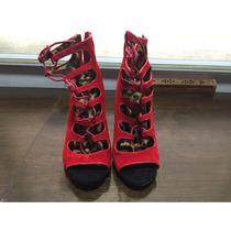 Zapatos Anne Michelle Rojos Altos Con Agujetas Nuevos