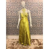 Vestido Evasê Amarelo Cetim Amassado Formanda/madrinha/convi