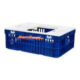 Caixa Gaiola Para Transporte De Frango Vivo Azul