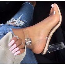 Sapato Feminino Sandalia Transparente Importado Frete Gratis