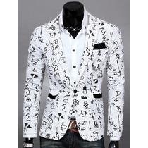 Saco Blazer Hombre Slim Fit Estampado Juvenil Moda Elegante