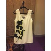 Vestido Banana Republic Con Flor Negra Talla 8