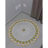 Tapete Sala Quarto Redondo Em Barbante 110cm Crochê