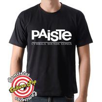 Camiseta Instrumentos Musicais Bateria Paiste Cymbals.