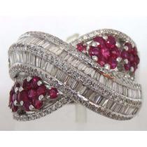 Pocao2005- Anel De Ouro Branco 18k 750 Diamantes Rubis 781