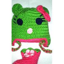 Conjunto Gorro Y Escarpines Tejido Crochet Lana Bebe