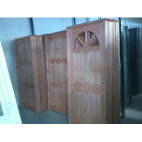 Puerta Maciza De Alamo 80x200 Con Vidrio Colocado