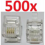 Conector Rj11 4 Vias 6x4 6p4c Plug P/ Telefone C/ 500 Peças