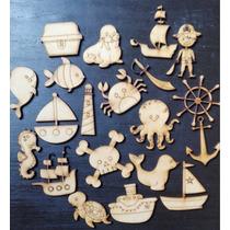 30 Figuras Marinas Náuticas Piratas Fibrofacil Mdf Souvenir