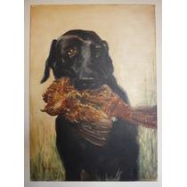 Labrador Negro - Cuadro Pintura Al Oleo Sobre Tela