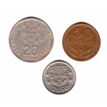 Portugal Lote 3 Monedas 50 Centavos, 2,50 Y 20 Escudos