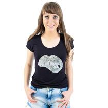 Blusa T-shirt Feminina Bordados Em Paetê Original Sem Juros