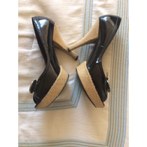Zapatillas Baby Phat Dama 24.5 Negras Charol Madden Nine Wes