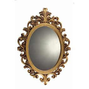 Moldura Provençal De Resina Com Espelho Dourado Envelhecido