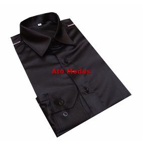 Camisa Social Masculina Seda/cetim Preta
