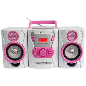 Micro System Lenoxx Fm,cd Player, Mp3 Branco/rosa- Mc265