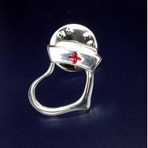 Pin Fistol Prendedor Cofia Corazón Cruz Roja Enfermera Plata