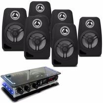 Kit Som Ambiente Bt + 6 Caixa Acústica Amplificador Estéreo