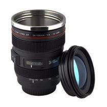 Caneca Termica Lente Canon Nikon Fuji 24-105mm Copo Alumínio