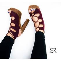 Zapatillas Sexys Altas Modernas Tacones Color Vino Tinto
