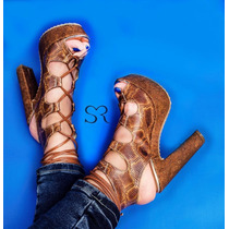 Zapatillas Sexys Altas Moda Tacones Animal Print Serpiente
