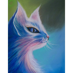 Pintura Decorativa Gato Multicolor Obra Artística