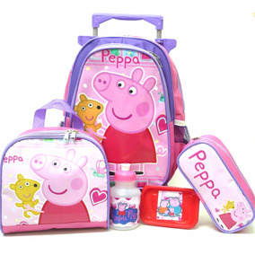 Kit Mochila Peppa Pig Lisa Infantil Tam M + Lancheira Boleto