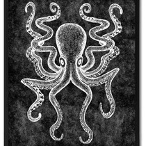 Octopus Animal Black Canvas Print, Custom Picture Frame, 28