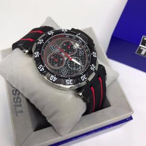 Relógio Tissot 1853 T-race Prata Pulseira Listras Vermelhas