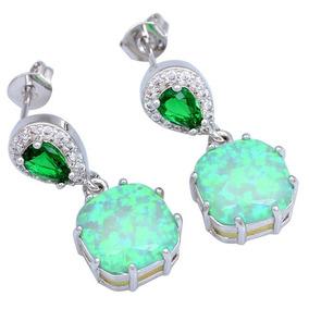 Brincos Verde Esmeralda E Opala Prata 925