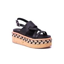 Natacha Zapato Mujer Sandalia Cuero Negro Plataforma #2882