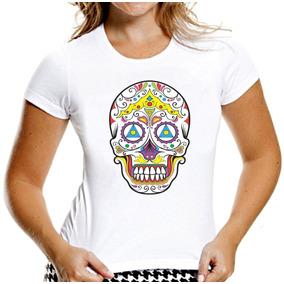 Camiseta Baby Look Caveiras Mexicanas Sugar Skull Mod 3