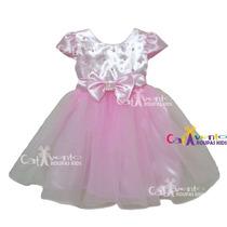 Vestido De Festa Infantil Princesa Bailarina Com Tiara