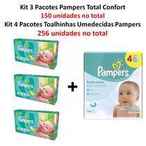 Kit Fralda Pampers Total Confort Lenços Umedecidos Pampers