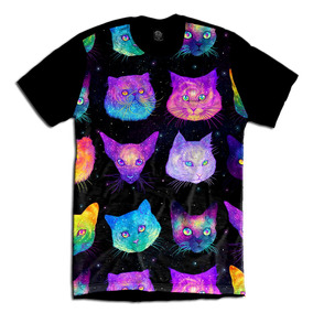 Acid Gato Cat Camiseta Psicodélica Galaxy Swag Personalizada