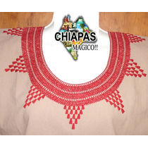 Hermosas Blusas De Chiapas Bordadas A Mano / Arena / Talla S