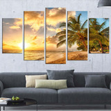 Quadro Decorativo Abstrato Linda Praia Da Ilha De Barbados
