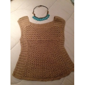 Hermosa Polera Tejida A Crochet Dorada Talla M - 40