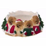 Portavelas Navideño Pomeranian - Ceramica - Hermoso!