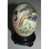 Antiguo Adorno Huevo Decorativo China Pintado Mano C/ Peana