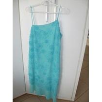 Vestido Social Verde Água Em Tecido Chifon