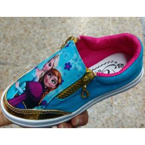 Zapato Baleta Cierres Para Niñas Jovenes Estampado Frozen