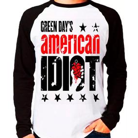 Camiseta Banda Green Day American Idiot Raglan Manga Longa